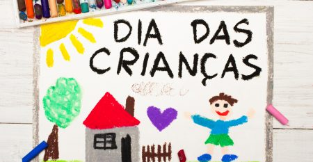 Colorful drawing: Children's day card with Portuguese words Children's day